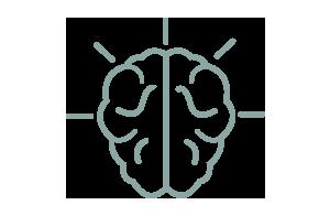 Ikon av hjärna med strålning